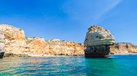 Limestone formations on the coastline and beach of Algarve, Benagil, Portugal
