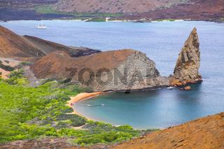View of Pinnacle Rock on Bartolome island, Galapagos National Park, Ecuador.