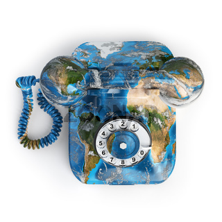 Global communication concept. Telephone with erth texture isolated on white, Elements of this image furnished by NASA