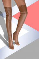 A girl in boots with a high drumstick caramel color. Hessian