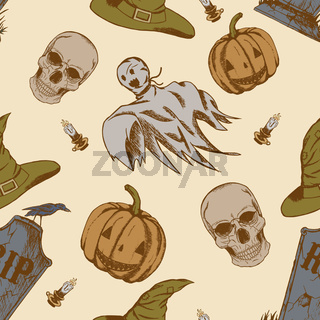 Seamless pattern with hand drawn halloween doodles