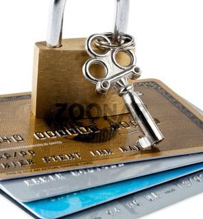 Sicherheit für Kreditkarten. Symbol mit Schloss.