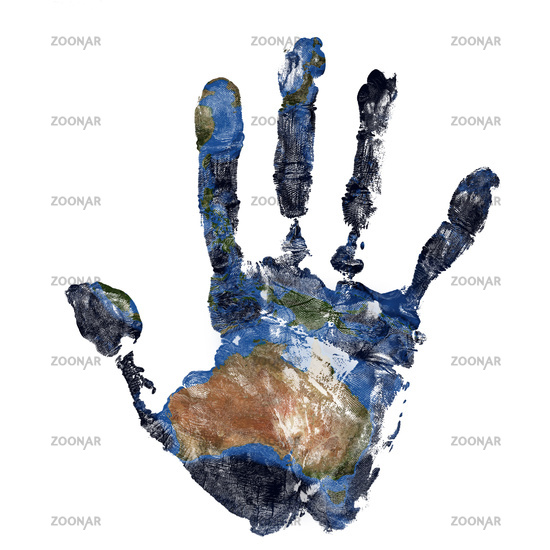 Real hand print combined with a map of Australia of our blue planet Earth.