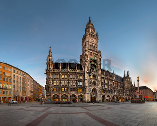 Panorama of Marienplatz and New Townhall in the Morning, Munich, Bavaria, Germany