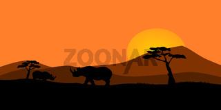 African sunset illustration