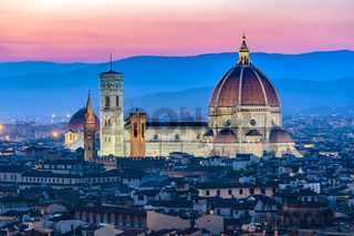 Florence city skyline at night, Italy