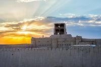 Khiva city wall in sunset