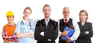 Gruppe mit verschiedenen Berufen