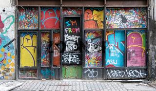 Grunge wooden door with random paints