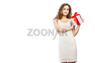 Beautiful Christmas woman with present isolated