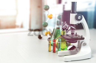 Microscope with lab glassware, flasks and colbas.Science laboratory research and chemistry white background. 3