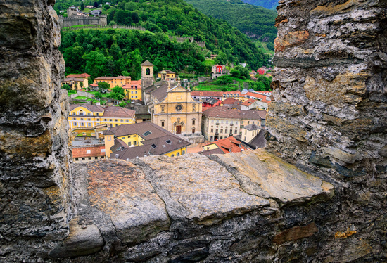 Bellinzona, Switzerland, view through the castle walls to the old town