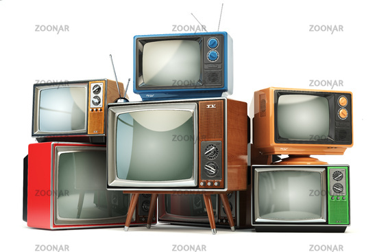 Heap of retro TV sets isolated on white background. Communication, media and television concept.