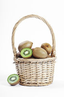wicker basket full of fresh juicy kiwi
