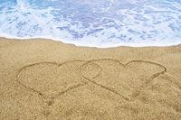 Herzen im Sand