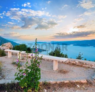 Observation area and  sea sunset (Croatia)