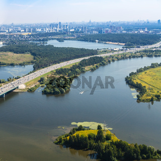 above view of Pavshinsky Floodplain in Moscow
