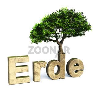 3D Schrift Erde mit Baum