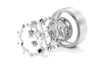 Disassembled ball bearing