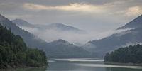 Sylvenstein reservoir lake in overcast sky