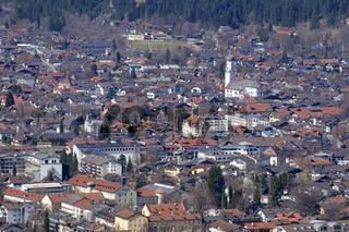 View to Garmisch-Partenkirchen in spring