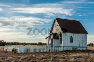Old Fashioned Country Church made out of wood in rural New Mexico