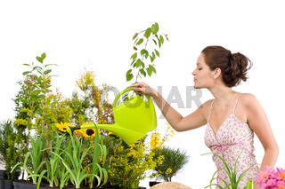 Gardening - Woman pouring water to plants with watering can