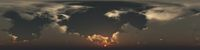 360 degree seamless panorama of clouds at sunset