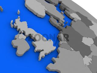 United Kingdom on political Earth model