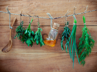 Various herbs hanging on shabby wooden background.  Parsley ,oregano, mint, sage, rosemary, sweet basil ,holy basil and thyme for seasoning concept.