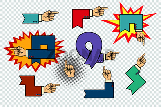 Set of business hand signs arrows isolated background
