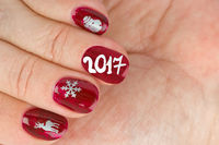 Finger nail with christmas pattern