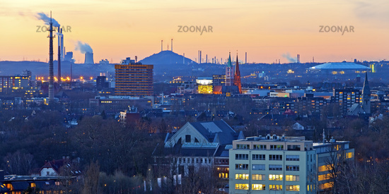 view of Gelsenkirchen in the evening, Ruhr Area, North Rhine-Westphalia, Germany, Europe