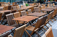 empty restaurant, empty tables and chairs in restaurant on day off