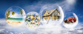 Traum von Reichtum, Eigenheim, Auto und Luxusreisen