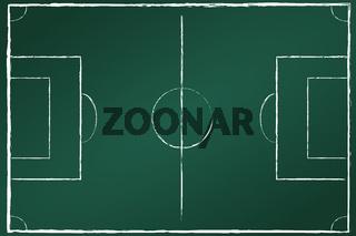 Fußballfeld auf Tafel grün