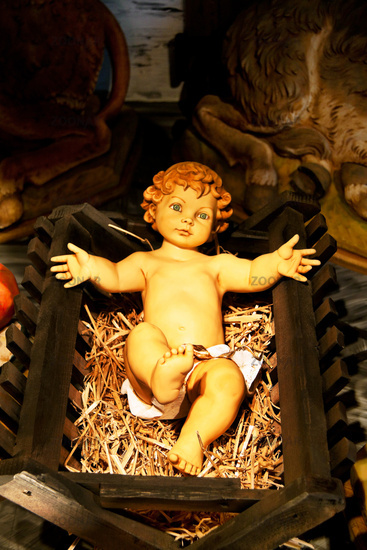 Christkind in crib