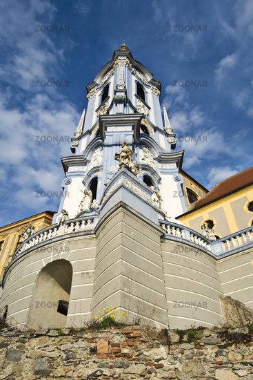 Baroque church in Dürnstein in the Wachau, Waldviertel, Lower Austria, Austria, Europe