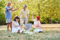 Gruppe Senioren feiert beim Picknick