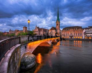 Fraumunster Church and Limmat River in the Evening, Zurich, Switzerland