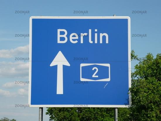 Verkehrszeichen Autobahn 2 Berlin