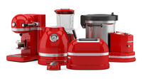 red kitchen appliances isolated on white background