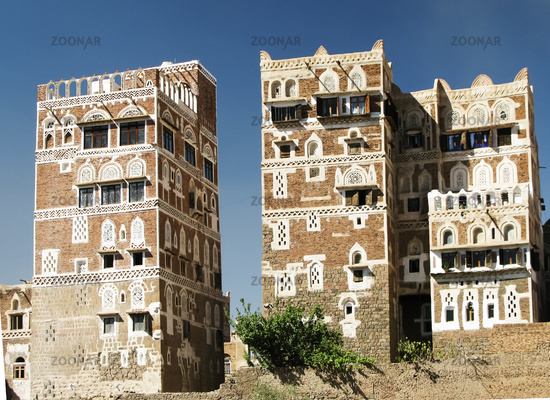 View to Sanaa traditional houses and old city