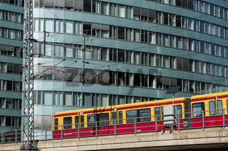 S-Bahn train in front of BVG office building