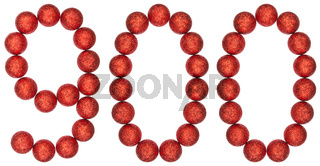 Numeral 900, nine hundred, from decorative balls, isolated on white background