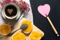 Breakfast with coffee and heart shape paper note