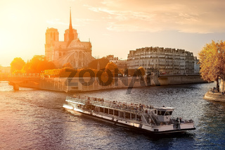 Ship near Notre Dame