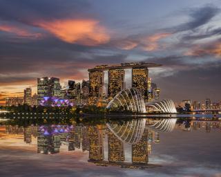 Singapore Skyline Beautiful Sunset