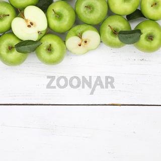 Äpfel Apfel grün quadratisch Obst Frucht Früchte Textfreiraum von oben