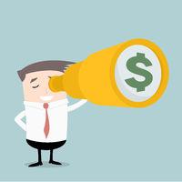 Businessman Spyglass Money